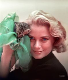 "To Catch a Kitten: 1954. ""From photographs of actress Grace Kelly on the movie set of To Catch a Thief."" Photo by Robert Vose for Look magazine."