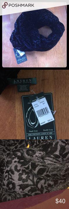 Ralph Lauren Infinity Scarf Beautiful Ralph Lauren Infinity Scarf! Brand New With Tags! Gorgeous and elegant scarf with black velvet detailing all around. Ralph Lauren Accessories Scarves & Wraps