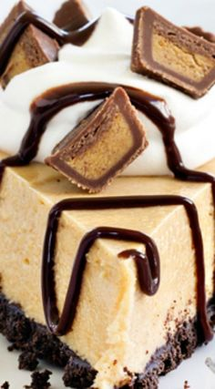 Peanut Butter Pie ~ Easy and delicious... Top it with mini peanut butter cups…