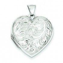 14K White Gold Domed Heart Locket