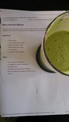 A Yummy smoothie from the #mnb #lornajane #moveoversugar recipe book - going to try with chia seeds rather than peanut butter next time :-)