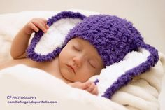 SUMMER SALE 6 to 12m Bunny Baby Hat Purple Bunny Ear by BabaMoon