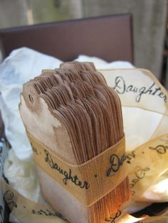 100 SMALL DECORATIVE Tags Hand Stained Vintage by EternalJournals- perfect for place cards!!