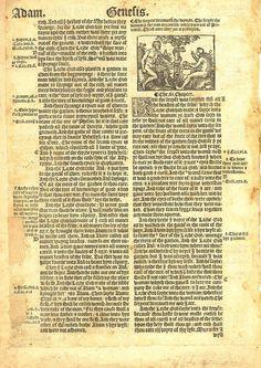 1537 Matthew-Tyndale Bible First Edition : Adam & Eve & Satan