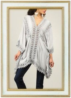 La Fille du Couturier Sexy Boho Chic Gray Sawtooth Lace Tunic Italy Size 42  #LaFilleduCouturier #Tunic