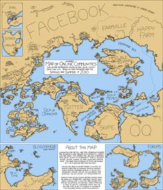 Online communities by volume of daily social activity 2010 via xkcd.com