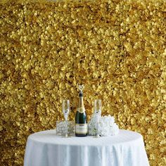 Balsacircle 4 Gold Artificial Hydrangea Flower Mat Wall Photography Backdrops Panels - Wall Decor Wedding Party Decorations Supplies photo ideas from Wedding Ideas Wedding Wall Decorations, Diy Wedding Backdrop, Backdrop Decorations, Flower Decorations, Wedding Themes, Flower Garlands, Flower Bouquets, Decor Wedding, Flower Petals