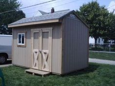 This neat little shed has a saltbox style roof and is 12' long by 8' deep.  Plans come with building double shed doors that are 4' wide and a side window on the front wall.  Construction is all 2x4 lumber with treated floor framing.
