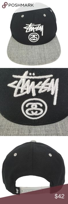 5c35fef9f62 Stussy Snapback Vintage Baseball Hat Black Gray Stussy Embroidered  Adjustable Snapback Flat Bill Cap   Baseball