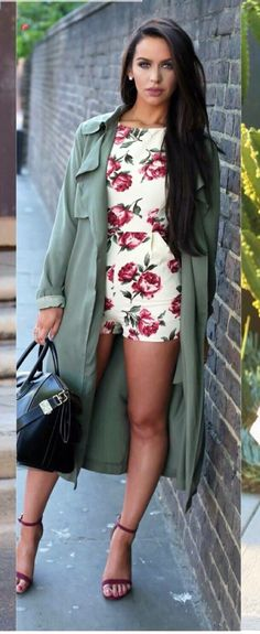 ff3045896641 Floral Romper   Trench Coat   Fashion by The Beauty Bybel · Trendy  HandbagsBeauty BybelLove FashionSpring FashionFashion ShoesFashion ...
