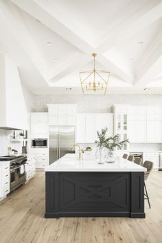 large kitchen island in open bright space