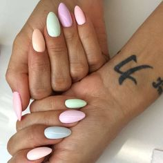 27 Easy Pastel Rainbow Nails to Copy (Get These Colors) Nail Designs Spring, Cool Nail Designs, Dope Nails, Fun Nails, Easy Nails, Pastel Nails, Acrylic Nails, Spring Nails, Summer Nails