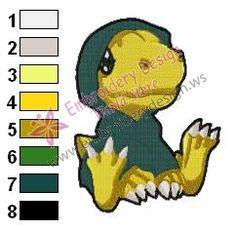 Baby Agumon Digimon Embroidery Design