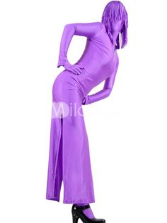 Purple Two-Piece Lycra Spandex Zentai Suit With Dress And Pants in just  USD $35.99 at wholesale price.