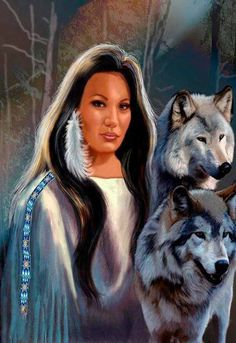 Beautiful image of a native american woman  and wolves