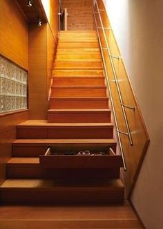 """Someone p l e a s e turn my stairs into drawers! Or would it be one more thing to trip on? Tray Chic - Smart Storage - 16 """"Sneaky"""" Ideas - Bob Vila"""