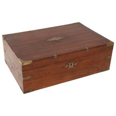 Wood and Brass Traveling Box  HEIGHT:	6 in. (15 cm) WIDTH:	18 in. (46 cm) DEPTH:	12 in. (30 cm)