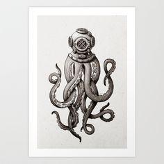 Octopus the Diver Art Print by Marija Tiurina - $18.00