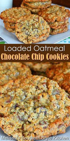 Oatmeal Chocolate Chip Cookies, Loaded Oatmeal Cookies Recipe, Breakfast Cookie Recipe, Toffee Cookies, Breakfast Recipes, Crinkle Cookies, Cookie Desserts, Dessert Recipes, Delicious Desserts