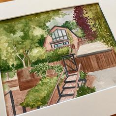 Beautiful home in Santa Cruz California Watercolor house portraits. Custom painting of home. First Home Gifts, New Home Gifts, House Illustration, Realtor Gifts, House Drawing, Hand Sketch, Watercolor Artwork, Cool Lighting, Custom Paint