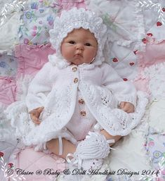 "Fern Lace 14-26"" doll/preemie-6m baby- KNIT"