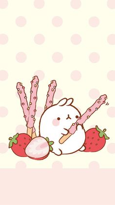 Molang with strawberry pocky
