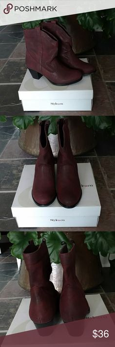 """NIB Style & Co Size 8 Ankle Boots NIB size 8 ankle boots by Style & Co 2 1/2"""" heel. Pull on style and very pretty distressed wine color. 🥀🥀 Style & Co Shoes Ankle Boots & Booties"""