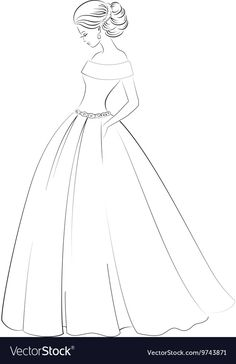 Bride model contour outline of pretty young woman vector image on VectorStock Dress Design Drawing, Dress Design Sketches, Fashion Design Sketchbook, Fashion Illustration Sketches, Fashion Design Drawings, Fashion Sketches, Dress Drawing Easy, Easy Love Drawings, Girl Drawing Sketches