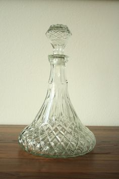 Vintage Cut Glass Decanter Liquor Bottle