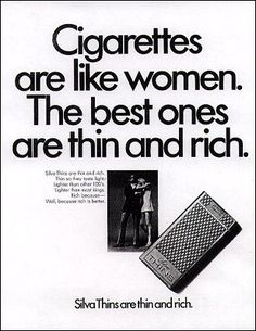 Items similar to Fridge Magnet - Cigarettes are like women, the best ones are rich and thin, vintage ad image from 1970 on Etsy