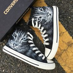 Custom painted Cute Cat design on a pair of Converse All Stars! Visit my Etsy shop for many more designs! Painted Converse, Painted Sneakers, Cat Lover Gifts, Cat Lovers, Lovers Gift, Vans Boots, Unique Gifts For Kids, Kids Gifts, Converse All Star Sneakers