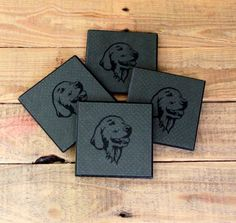 Wooden Coasters, Set of Four, Golden Retriever Dog on Dark Grey, Decoupage and Painted, Cork Back..........Free US Shipping