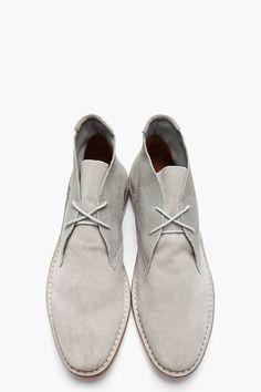 SHIPLEY & HALMOS Grey Suede Max Chukka Boots