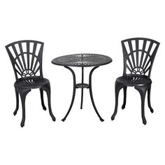 From design to function, the Christopher Knight Home Andorra Cast Aluminum Outdoor Bistro Furniture Set suits your every need. Made from cast aluminum, the set includes two (2) armless chairs and one (1) round mesh table. The features include intricate details on the chair backrest and the table also features a patio umbrella opening. Whether in your backyard, patio, deck or even your restaurant outdoor dining space, you'll enjoy this set for years to come.