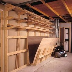 Lumber Storage Rack Woodworking Plan from WOOD Magazine Lumber Storage Rack, Lumber Rack, Plywood Storage, Garage Storage, Garage Organization, Organizing, Smart Storage, Organization Ideas, Woodworking Shop