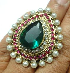 pink green kundan cz gold tone adjustable finger ring