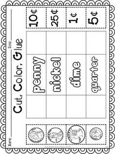 Coins and money introduction. 31 No Prep Printables with a cute Monster theme. Homeschool Kindergarten, Preschool Learning Activities, Homeschooling, Life Skills Classroom, Math Classroom, Teaching Money, Teaching Math, Money Worksheets, First Grade Math