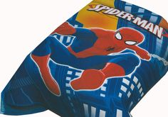 Spiderman  blanket. Buy on online at EclipseDist.com. The cartoon Mink Blanket measures 60 x 80 inches and comes in a reusable plastic carrying case. It is big enough to cover yourself on your sofa or drape over a twin or full size bed. It is officially licensed. These blankets are extra warm & plush and have superior durability. Easy Care, machine wash and dry.