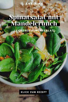 Das ganze Jahr über als Hauptmahlzeit oder Beilage - mein Spinat Salat mit Mandel-Crunch kommt immer gut an :) Viel Spaß mit diesem leichten Spinat Salat Rezept! Spinat Salat | Spinat Salat Rezepte | Leichter Spinat Salat