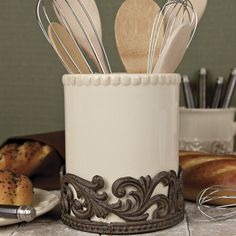 bOut of Stock - Next shipment due on 08152013bbrbrComplete your French Country or Old World decorating theme with this wonderfully attractive ceramic utensil caddy.  From the GG Collection,...