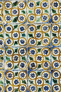 Azulejos tiles in the Mudejar style, Casa de Pilatos Seville, Spain