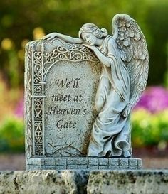 Buy Roman Exclusive Angel Memorial Garden Statue with Verse 'We'll Meet at Heaven's Gate' Cemetary Decorations, Animal Line Drawings, Heaven's Gate, Garden Angels, Bereavement Gift, Angels Among Us, Angel Statues, Memorial Gifts, Memorial Plaques
