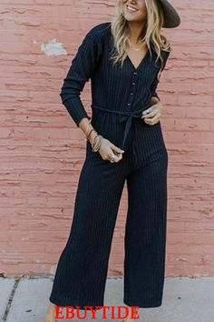 Casual Sexy V Neck Button Down Long Sleeve Jumpsuit Casual Sexy V Neck Button Down Long Sleeve Jumpsuit. Jumpsuit Casual, Cotton Jumpsuit, Jumpsuit Outfit, Fitted Jumpsuit, White Jumpsuit, Rompers Women, Jumpsuits For Women, Fashion Pants, Shopping
