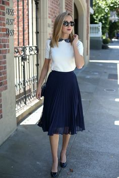 Pleated Skirt and Lace Collar Sweater - MEMORANDUM, formerly The Classy CubicleMEMORANDUM, formerly The Classy Cubicle