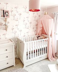 50 Inspiring Nursery Ideas for Your Baby Girl - Cute Designs You'll Love Gorgeous baby girl room cur Flamingo Nursery, Tropical Nursery, Blush Nursery, Flamingo Baby Shower, Floral Nursery, Elephant Nursery, Baby Room Colors, Baby Room Decor, Nursery Decor