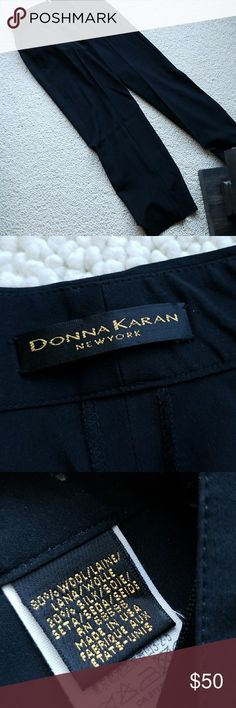 """DONNA KARAN Wide leg trousers,  dress pants, 80%wool, 20%silk. These are soooo beautiful.  Thin,   more like a heavy nylon. Wide leg measures 10 1/2"""" cuff opening,  measured flat.  Hangs straight down.  Hook-eye fly closer.  33"""" inseam, (w/- 2"""" hem).  30"""" waist. If you know you're designer cloths you know what this is. Little snug on me. Labeled as US8 but more like a small 6. I generally wear a size 8.  I wore it a few times and it has been dry cleaned after each use.  . No damage. Looks…"""