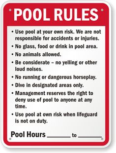 Commercial Pool Rules Sign, Pool Hours Screen Printed Plastic Signs, x Commercial Pool Rules Sign, Pool Hours - Screen Printed Polyethylene Signs, x - This x Pool Rules Sign is a standard in pools all across america.