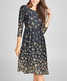 2c3916e21f9c Another great find on #zulily! Black & Pink Floral Swing Dress - Women