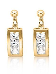 18K Gold Plated Rectangle Cz Diamond Earring For Women