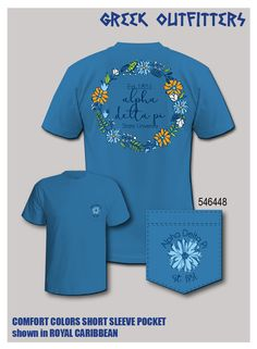 Greek Outfitters Alpha Delta Pi floral wreath Comfort Colors pocket tee #grafcow